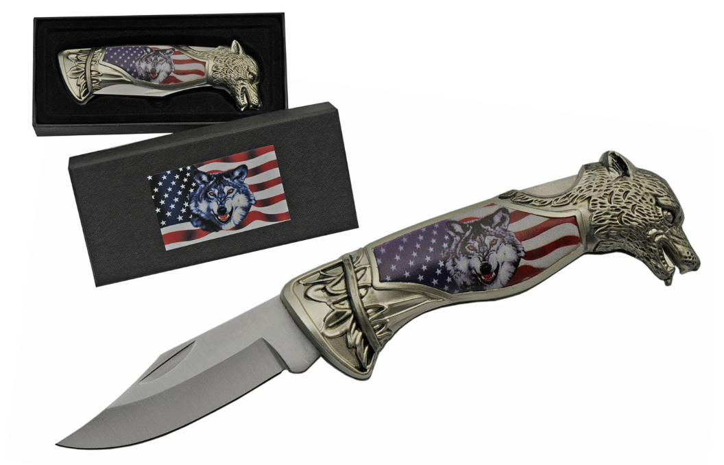 Folding Pocket Knife | American Flag Us Wolf With Decorative Gift Box 211470-Wf