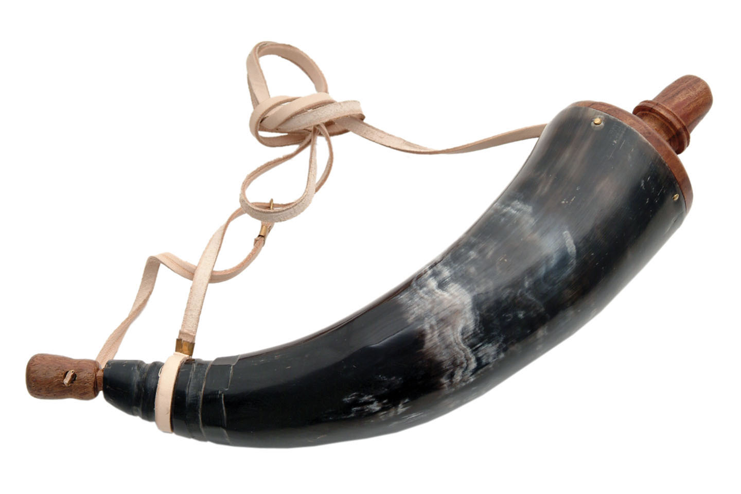 "Powder Horn | 14"" Black Historical Musket Reenactors Replica with Leather Sling"