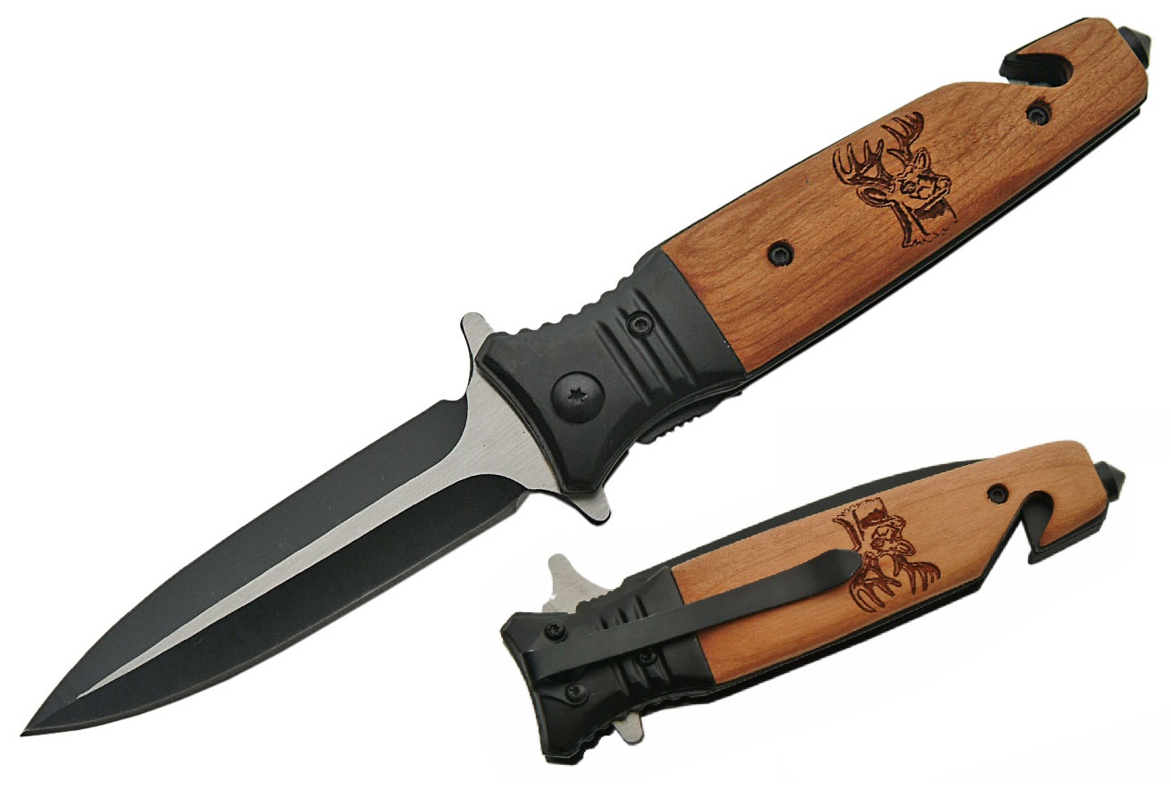 Spring-Assist Folding Knife   Wood Deer Handle Stiletto Blade with Punch, Cutter