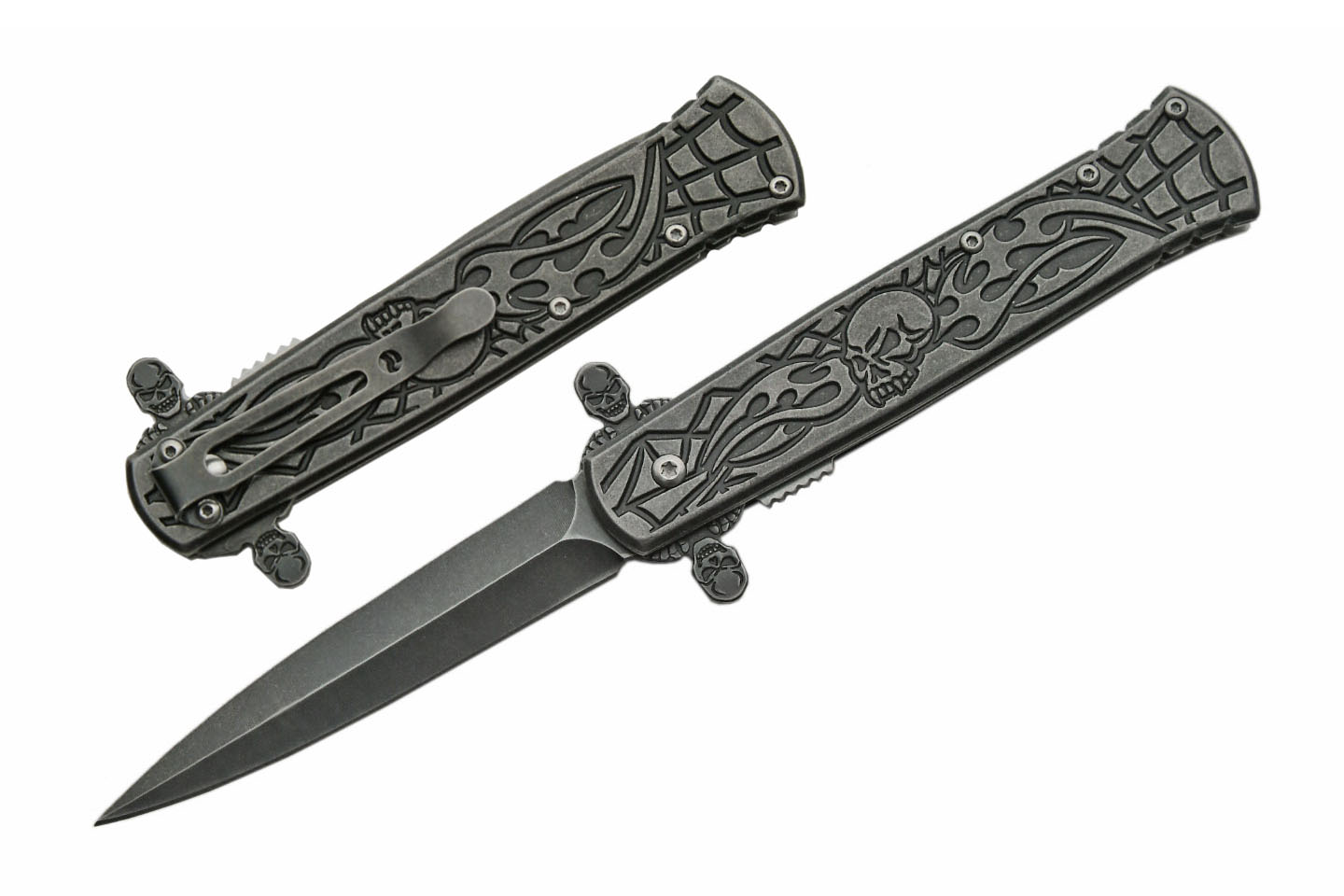 Spring-Assist Folding Knife    Tac-Force Stone Gray Skull Flame Stiletto Blade