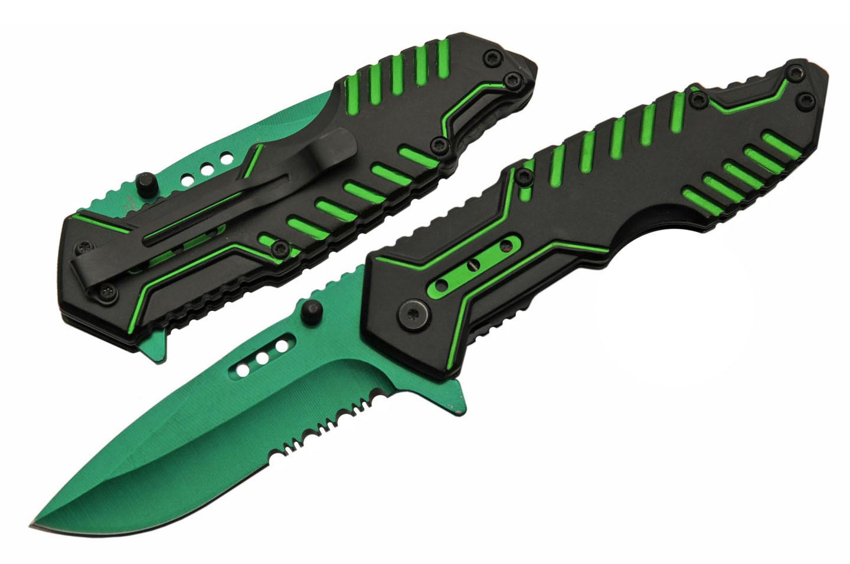 Spring-Assisted Folding Pocket Knife   Black Green Serrated Blade Tech Tactical