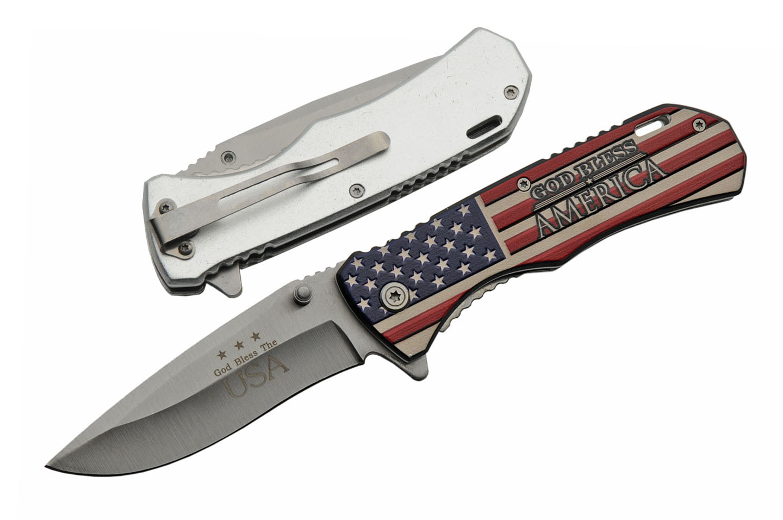 Spring-Assist Folding Knife | Patriotic God Bless America Usa Flag Silver