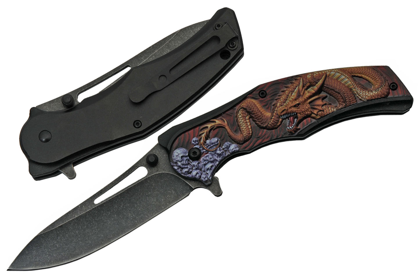 Spring-Assisted Pocket Folding Knife | Red Dragon Skull Tactical Edc 300491-Rd