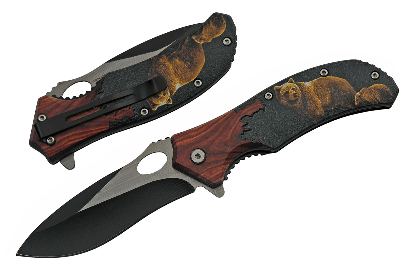 "Spring-Assist Folding Knife | 3.5"" Black Blade Wood Handle Roaring Bear"