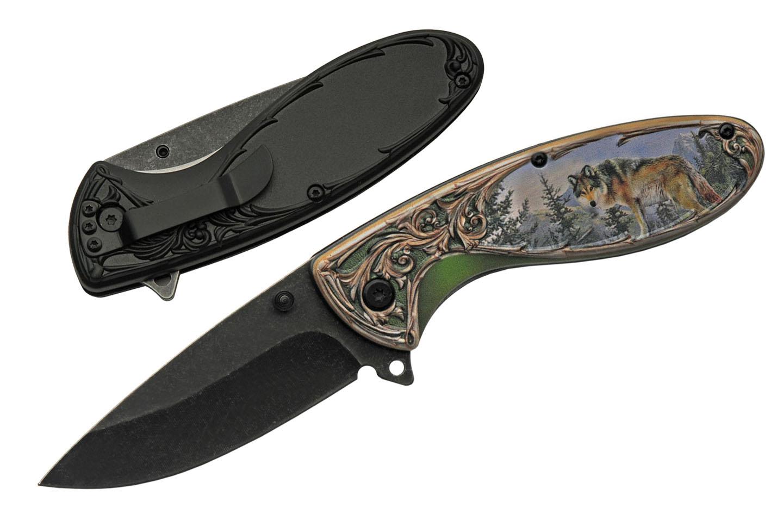 Spring-Assist Folding Knife   Rite Edge Black Bear Stainless Steel Blade
