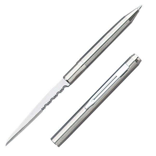 Pen Knife   Hidden Serrated Blade Functional Ink Pen Letter Opener Silver