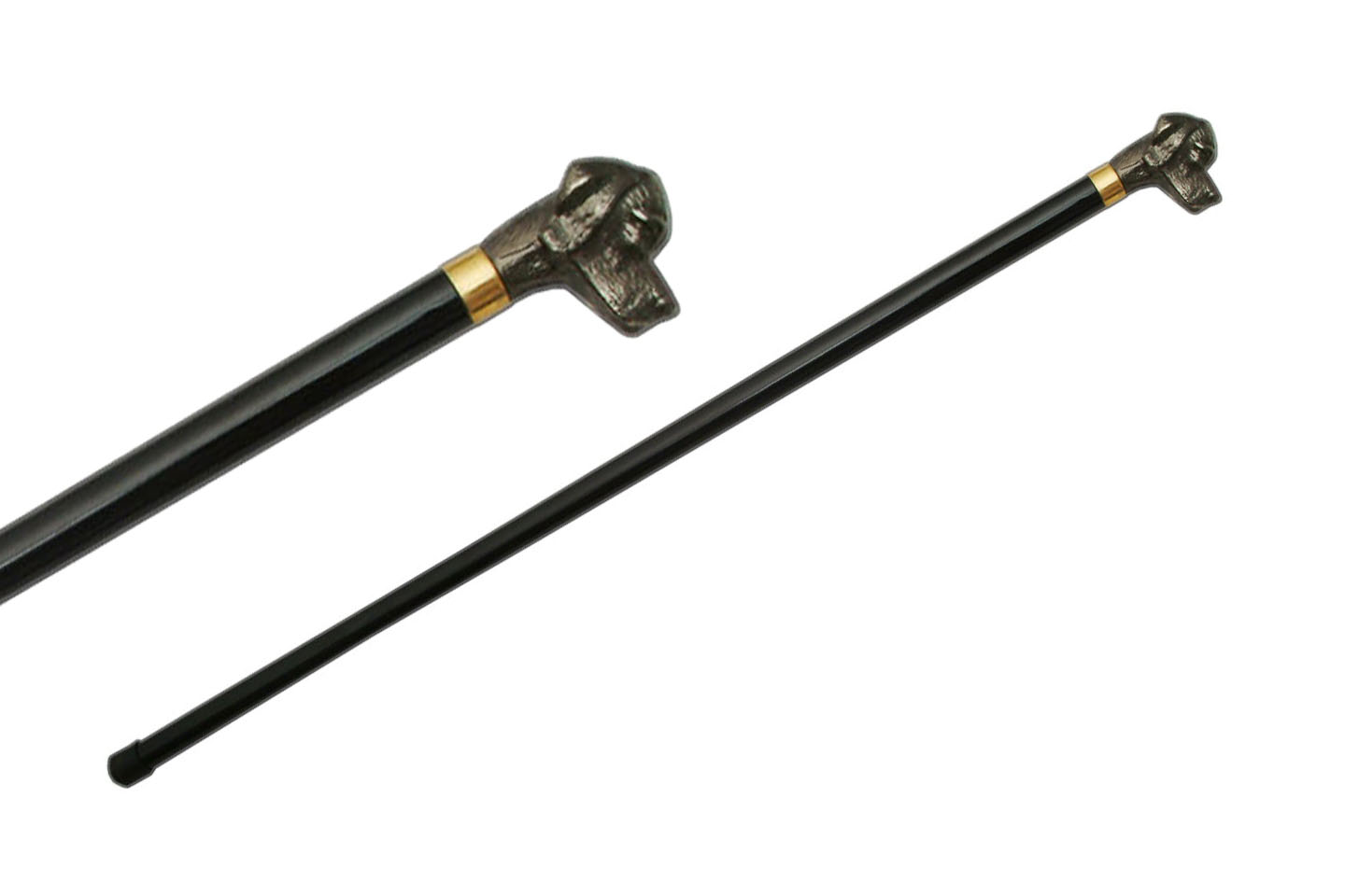 "Walking Cane | Black 34"" Overall Dog Head - No Blade"