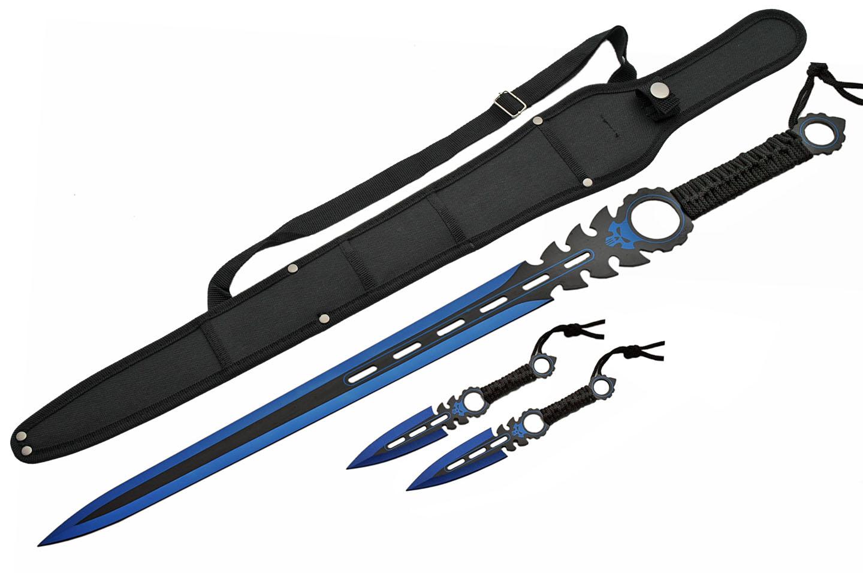 Fantasy Sword   Blue Black Blade Double Edge Blade + 2 Throwing Knives + Sheath