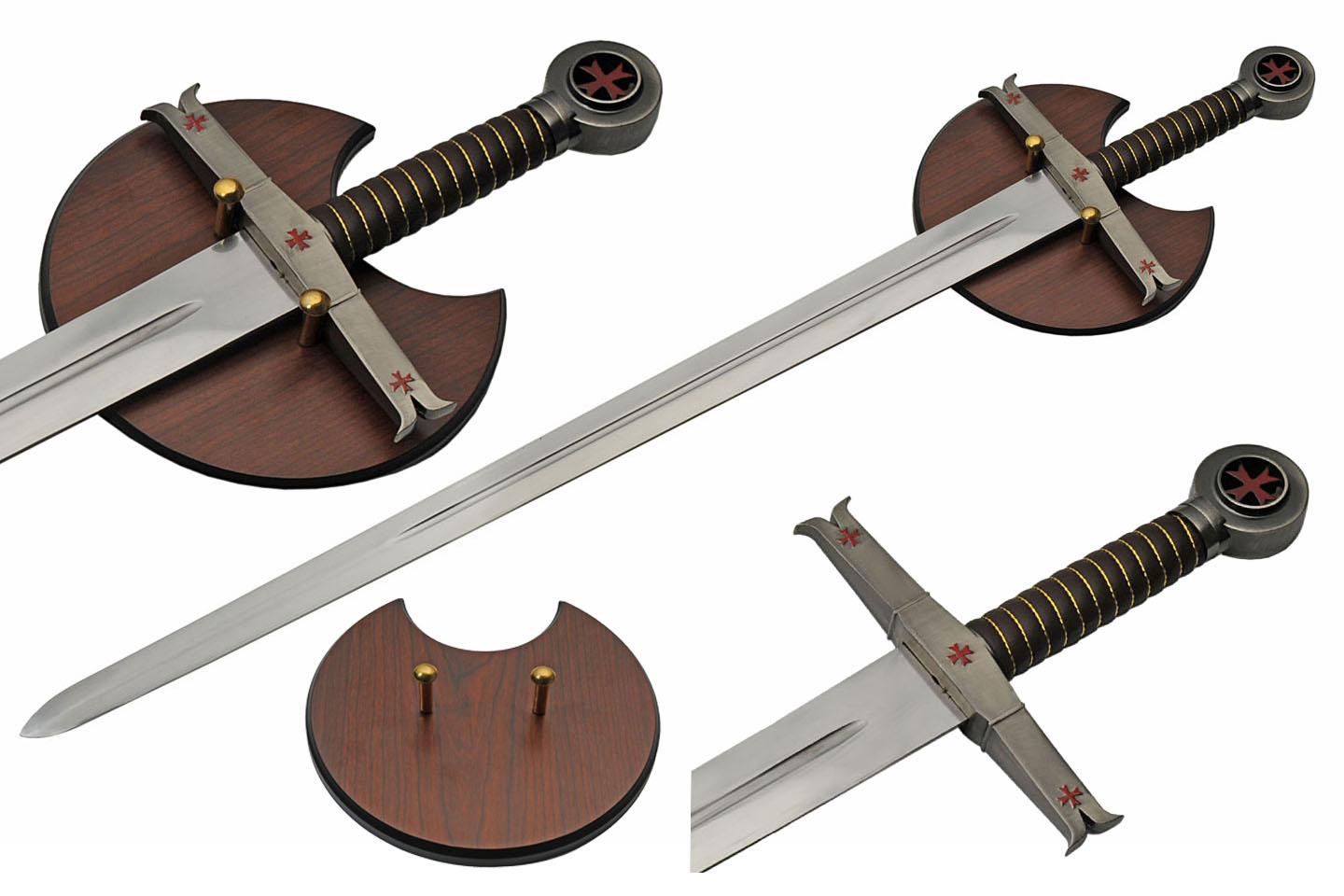 "Medieval Sword | 38.5"" Overall Kight Templar Crusader Sword + Wall Display"