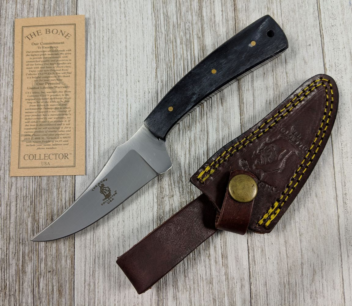 "Hunting Knife | Bone Collector Black Handle 3.5"" Blade Skinner + Leather Sheath"