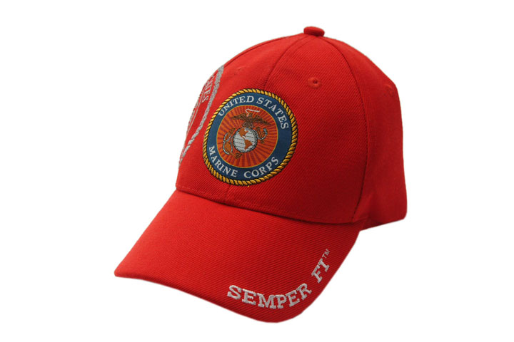 USMC Marine Veteran Red Semper Fi Baseball Cap - One Size Fits All