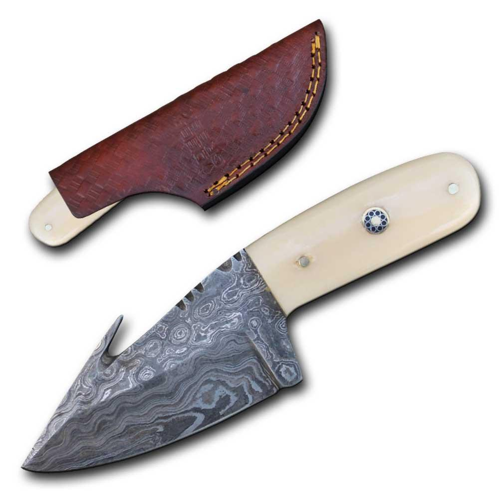 Damascus Steel Hunting Knife | White Bone Gut Hook Skinner 3