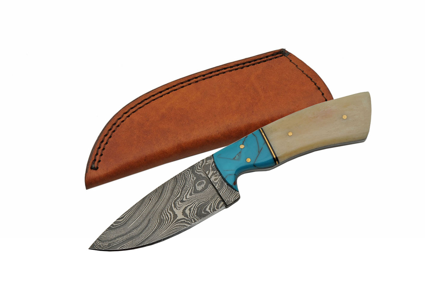 "Damascus Steel Blade Hunting Knife | 8"" Overall Bone Turquoise Skinner + Sheath"