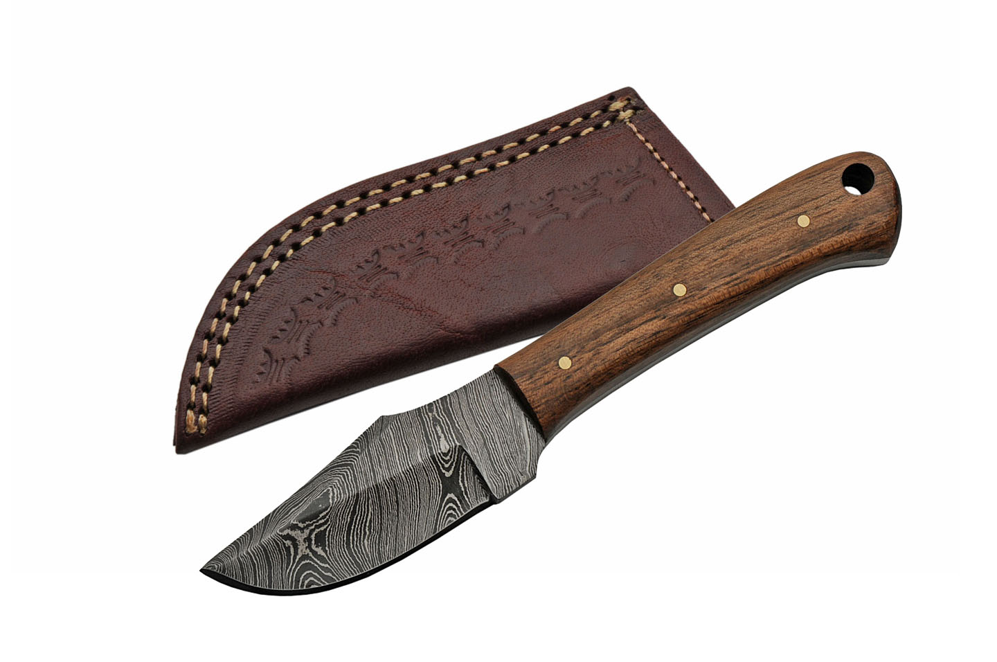 "Hunting Knife | 6.5"" Overall Brown Walnut Wood Full Tang Damascus Steel Blade"