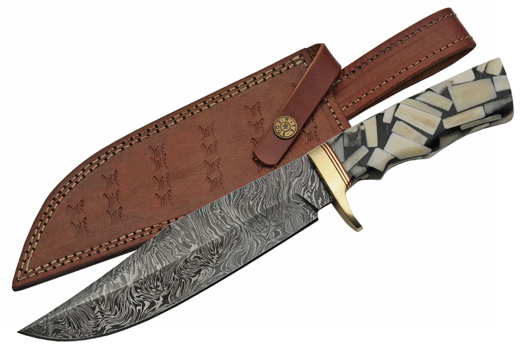 "Fixed Blade Knife | 13"" Overall Damascus Bone & Black Horn Handle Gift Dm-1197"