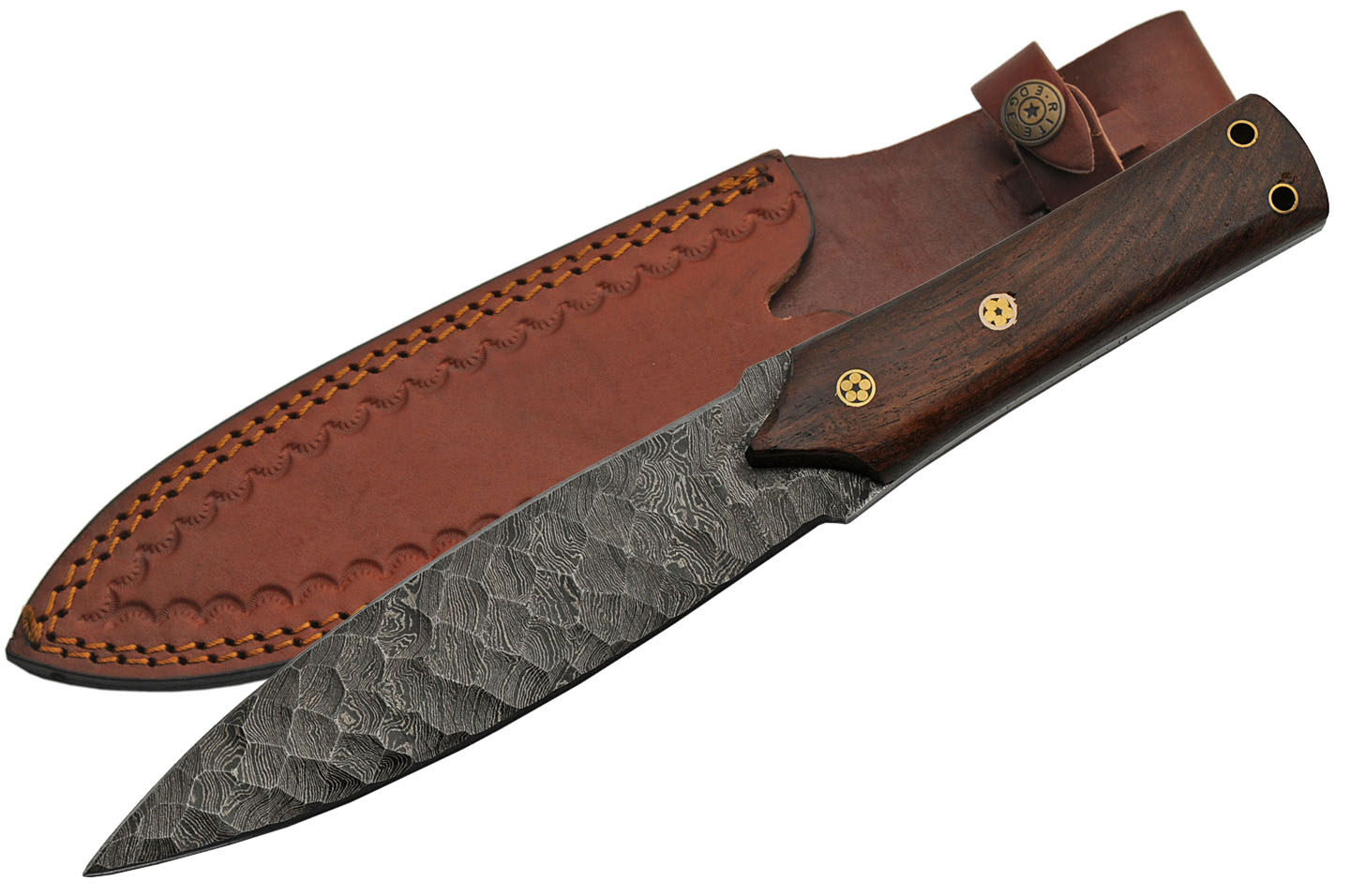 "Dagger | Full Tang Double Edge 12"" Overall Damascus Steel Blade Wood Handle"