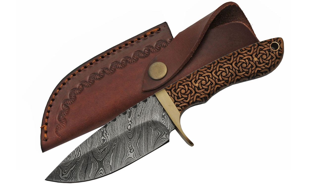 "Hunting Knife | 9"" Overall Damascus Celtic Knot Wood Full Tang Blade DM-1208"