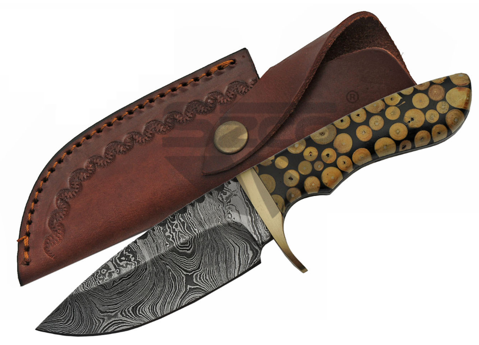 "Fixed Blade Knife | 9"" Overall Damascus Carbon Steel Black Knotted Wood Dm-1210"