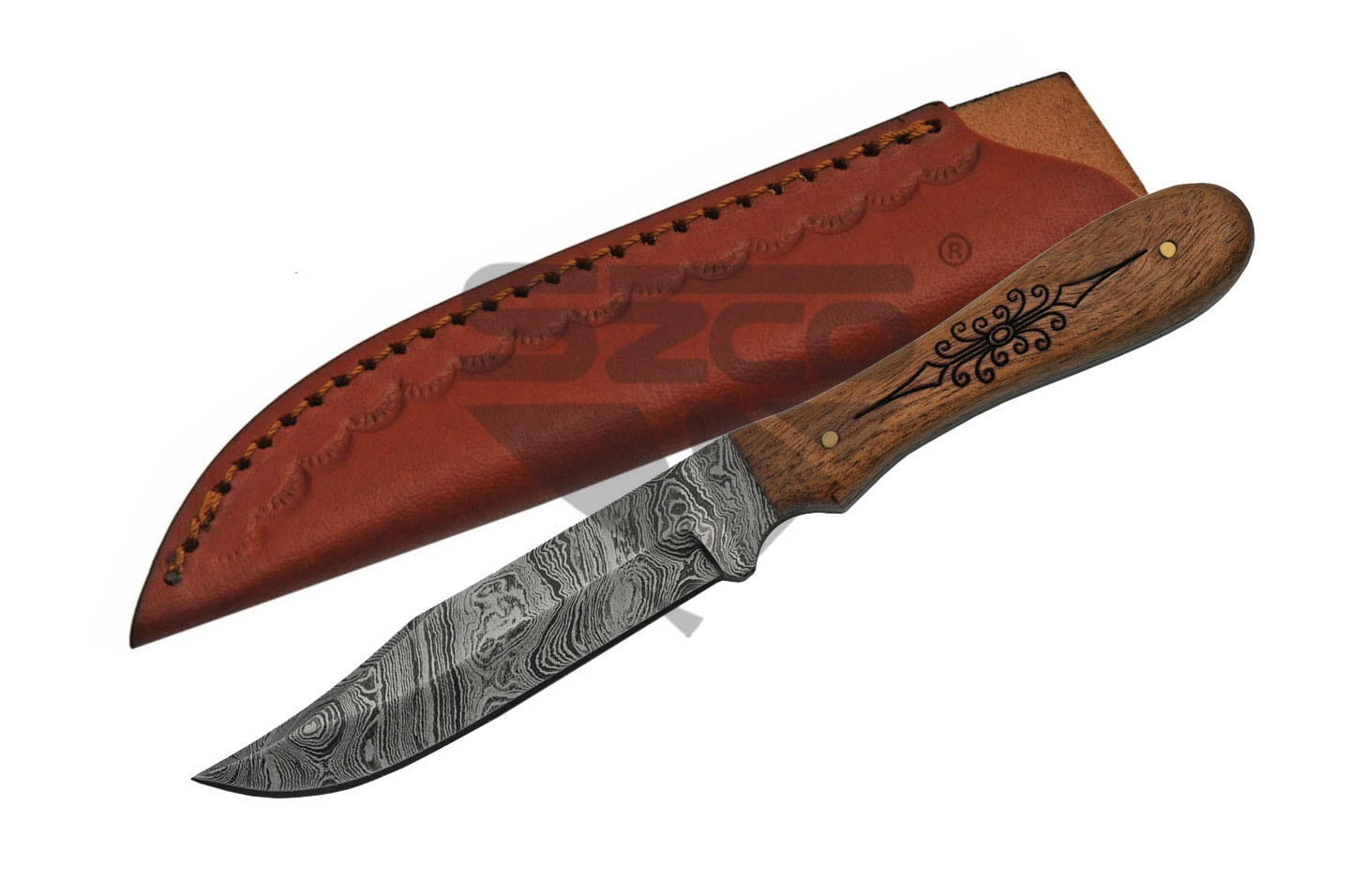 "Fixed Blade Hunting Knife | Damascus 7.5"" Overall Acacia Wood Burned Handle Gift"