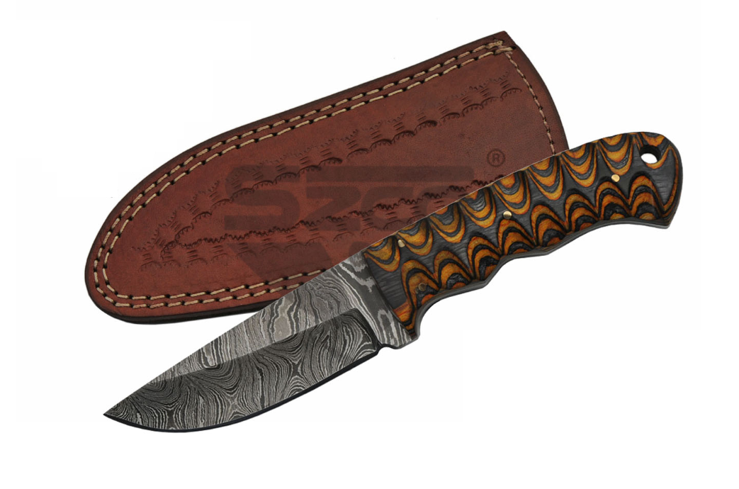 "Fixed Blade Knife | 7.5"" Damascus Steel Twisted Wood Black Brown Hunting Dm-1218"