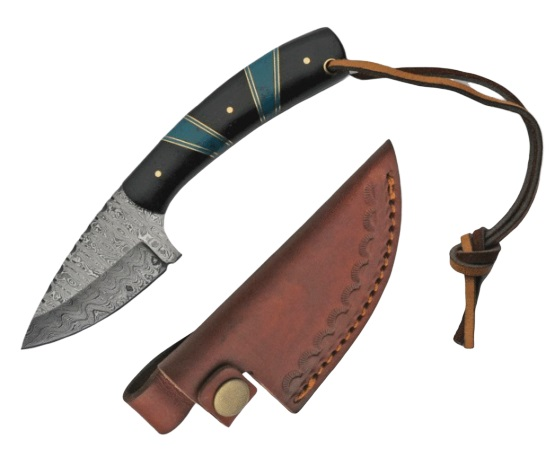 Hunting Knife | Damascus Steel Blade Turquoise/Black Handle + Leather Sheath