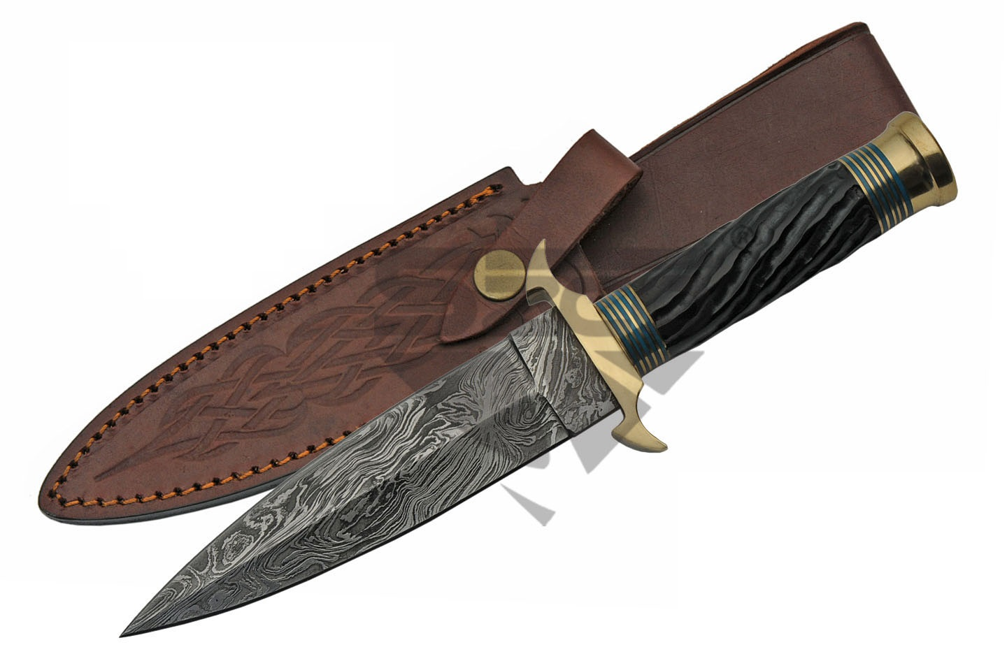 Damascus Steel Knife | Genuine Black Horn Medieval Dagger Blue Brass Dm-1236Bl