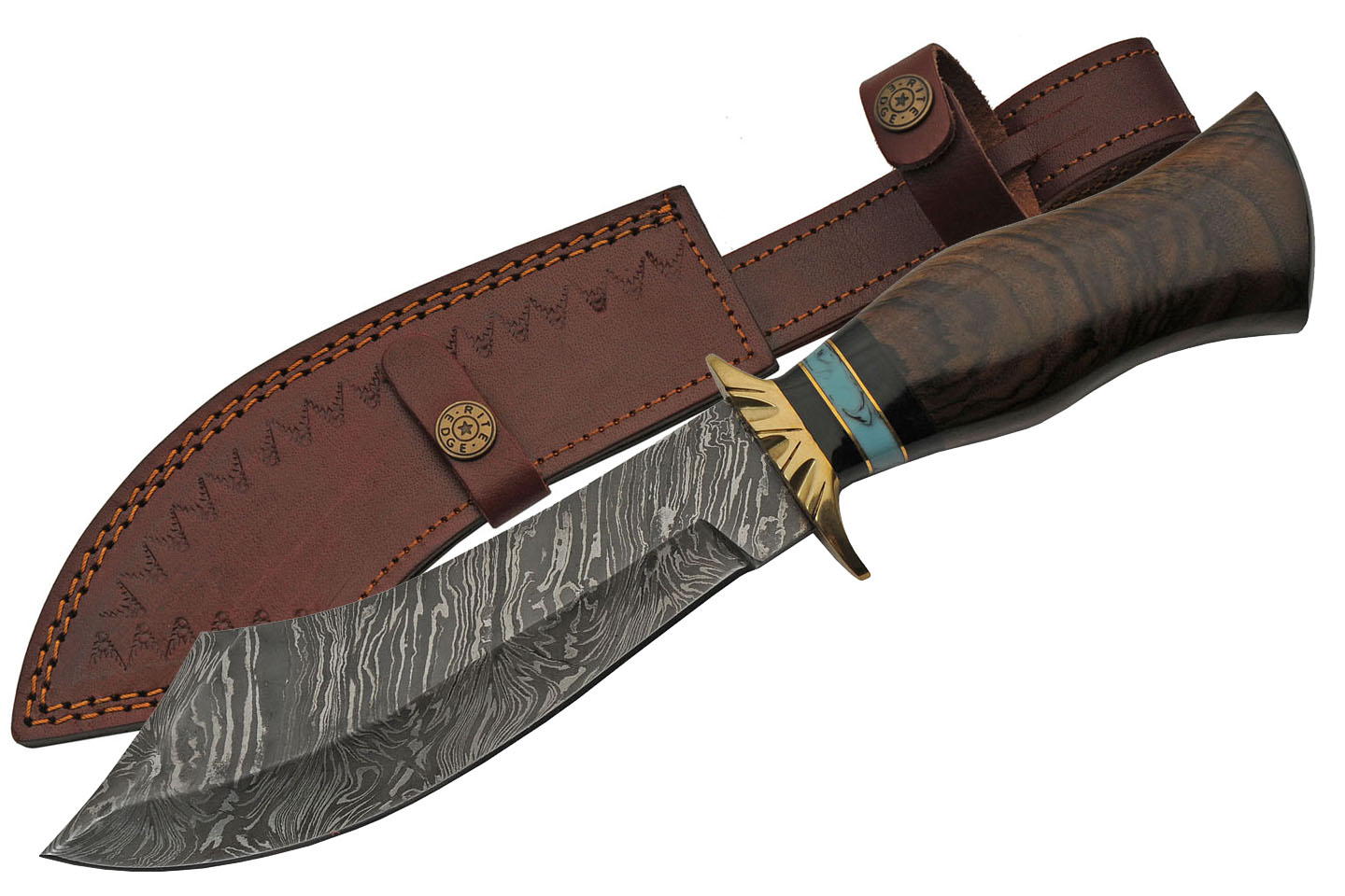 "Bowie Knife | 8"" Damascus Steel Scimitar Dao Blade Wood Handle + Leather Sheath"