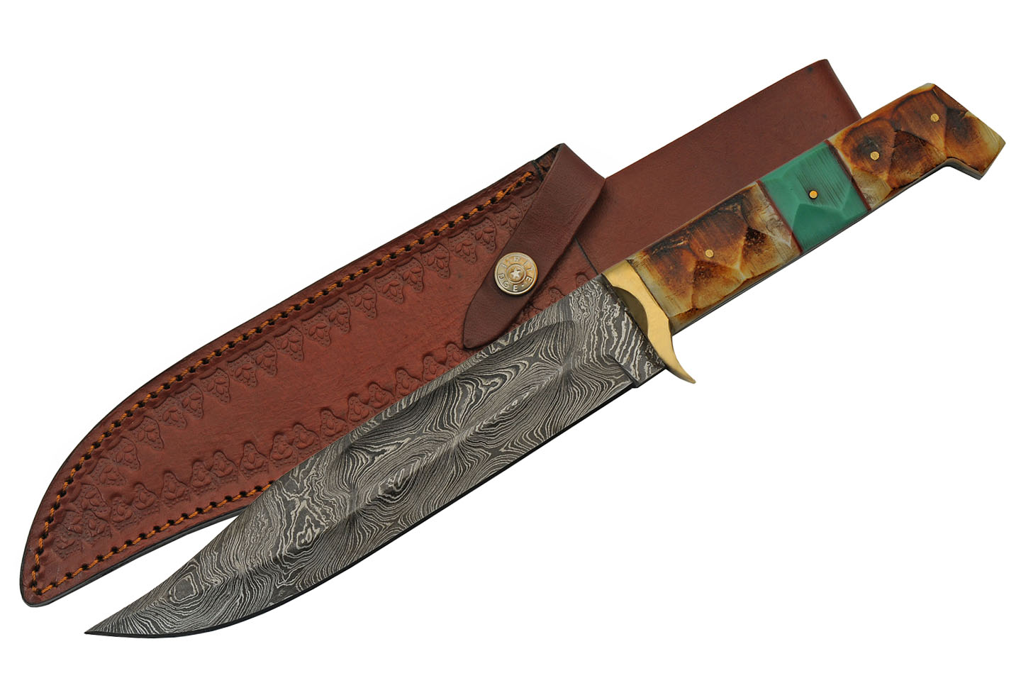 "Hunting Knife | 8"" Damascus Steel Blade Burnt Bone/Turquoise Handle + Sheath"