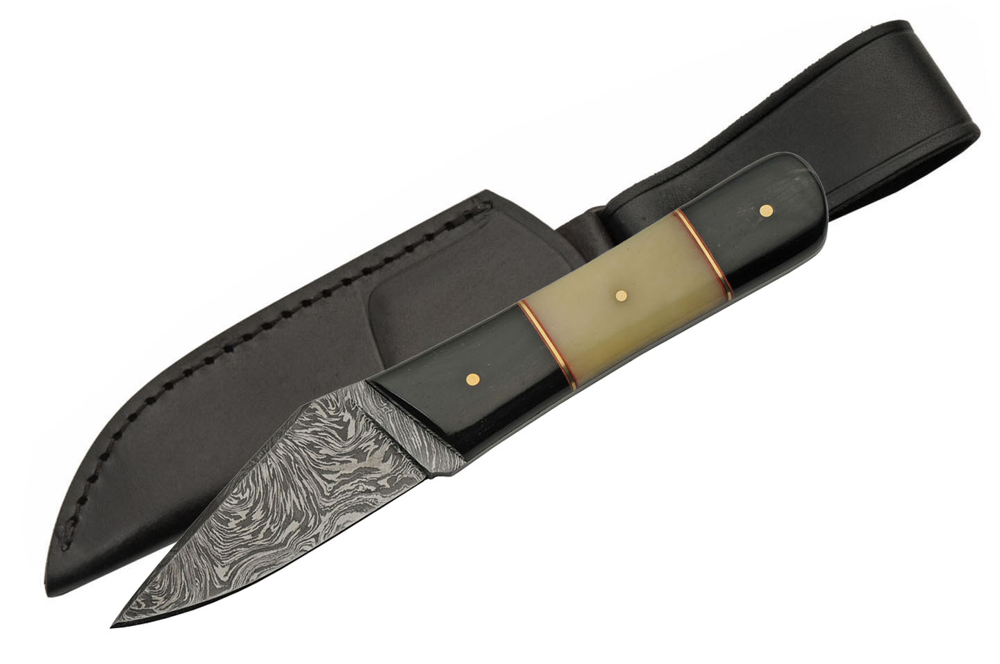 "Hunting Knife | 3.25"" Damascus Steel Skinner Blade Bone/Horn Handle + Sheath"