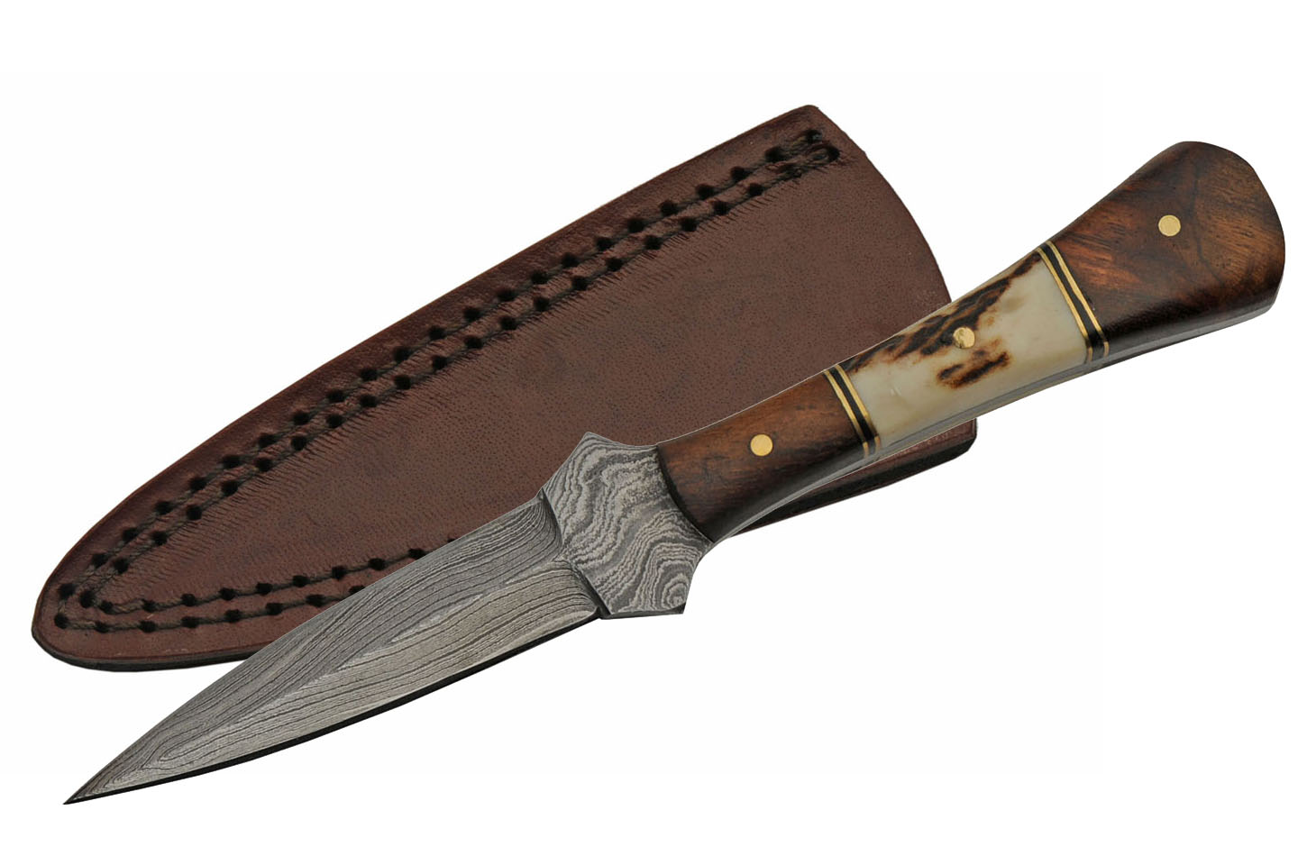 "Dagger | 3.5"" Spear Point Blade Stag/Wood Handle Full Tang Boot Knife + Sheath"