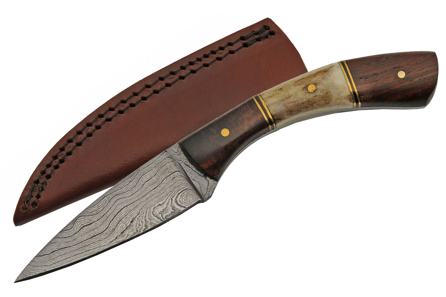 "Hunting Knife | 3"" Spear Point Blade Skinner Stag/Wood Curved Handle Full Tang"