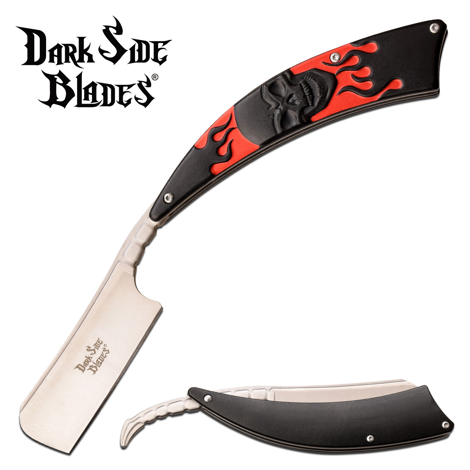 "Straight Razor | Dark Side Blades 3.75"" Razor Blade Black Red Flaming Skull"