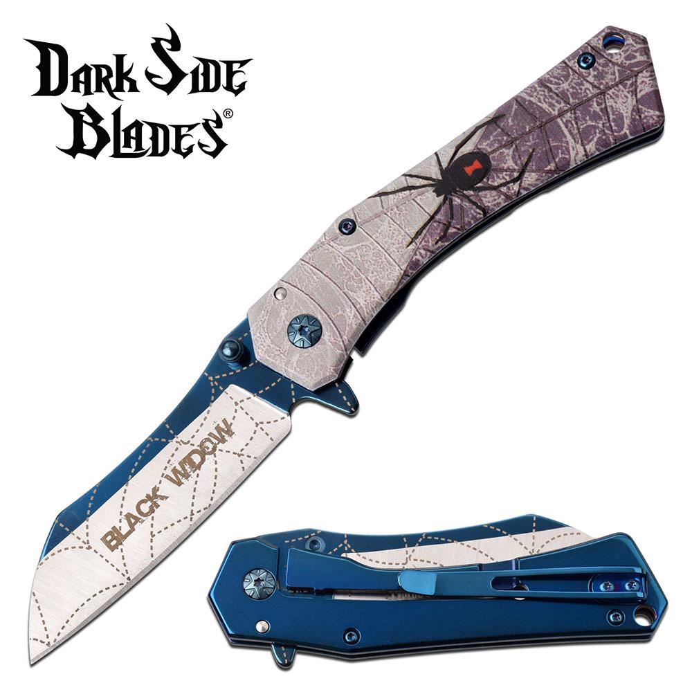 Spring-Assist Folding Knife   Black Widow Spider Fantasy Blue 3.25