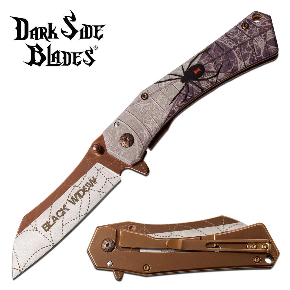 Spring-Assist Folding Knife | Black Widow Spider Fantasy Copper 3.25