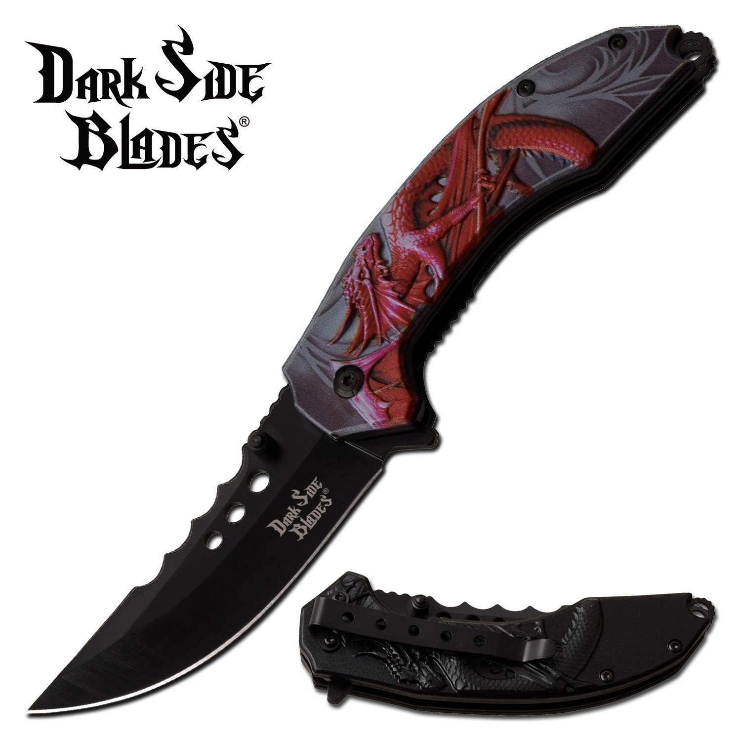 "Spring-Assist Folding Knife | Red Dragon 3.5"" Black Trailing Blade Fantasy EDC"