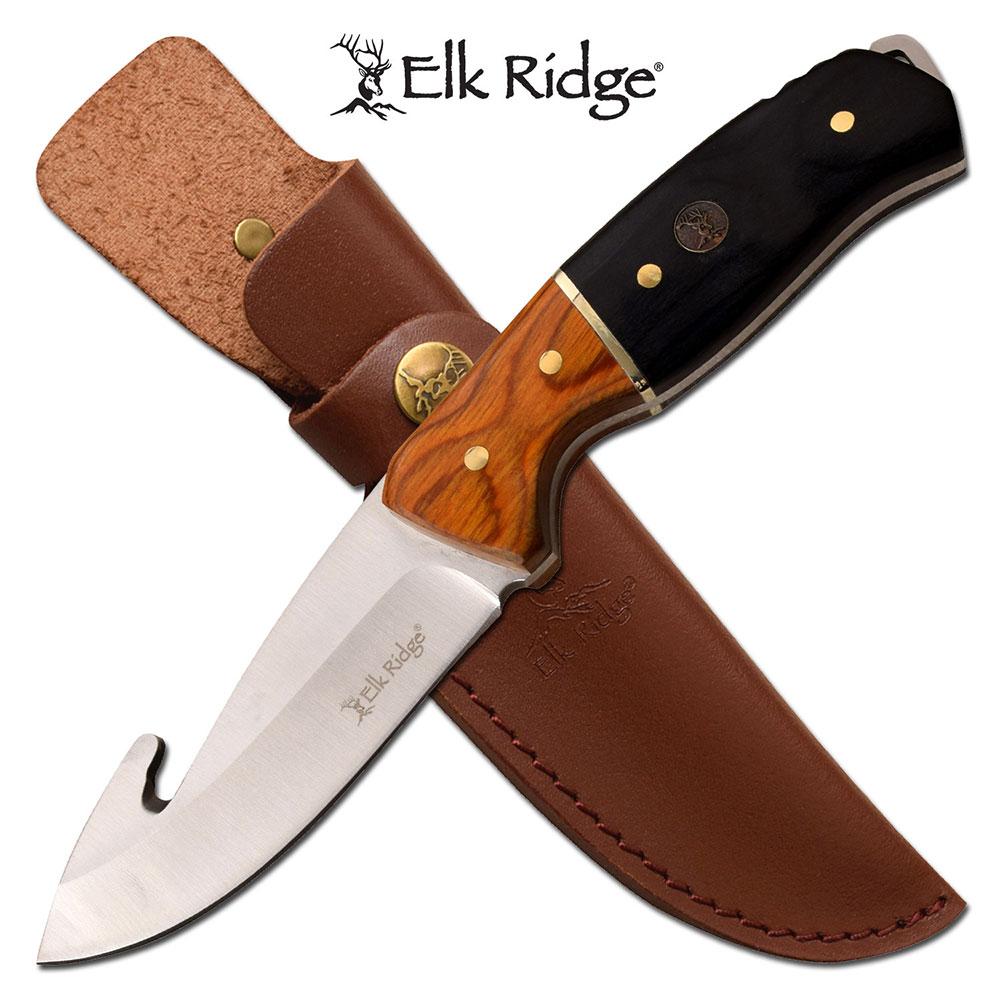 Hunting Knife   Elk Ridge Gut Hook Blade Black Wood Handle Full Tang + Sheath