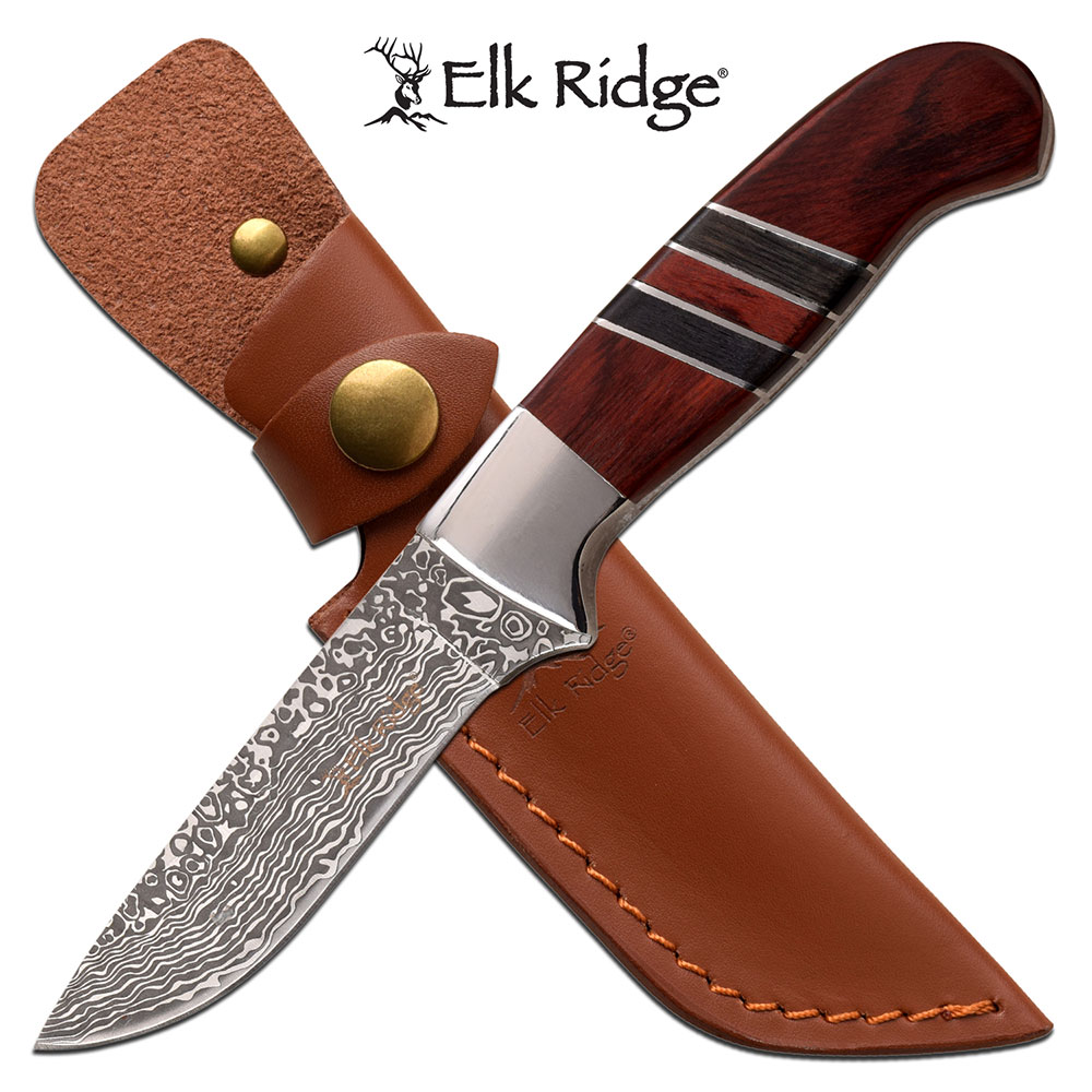"Hunting Knife Elk Ridge 3.75"" Stainless Etched Blade Brown Wood Skinner + Sheath"