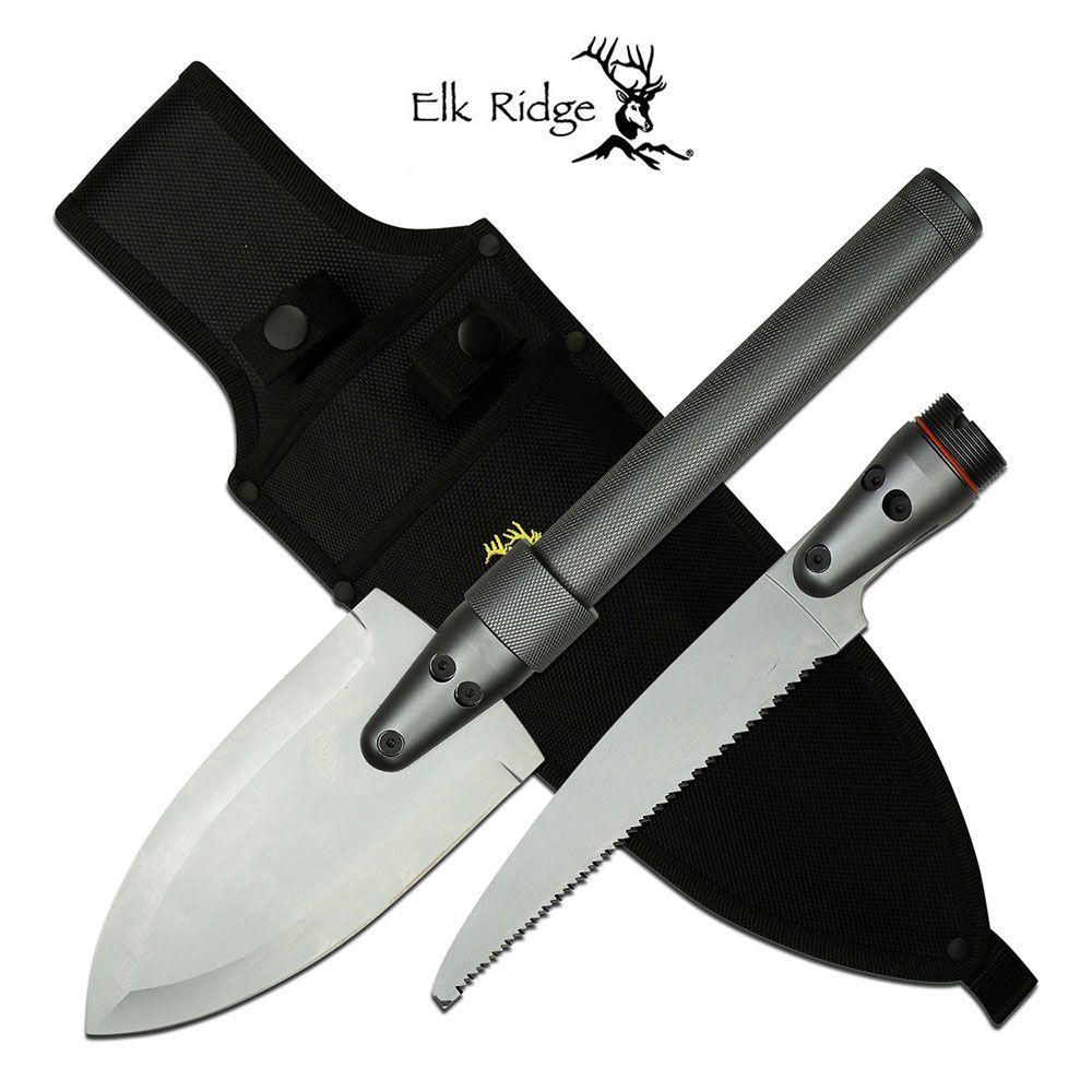 Survival Knife Kit Spear and Saw Blade Tool + Flashlight, Nylon Sheath Elk Ridge