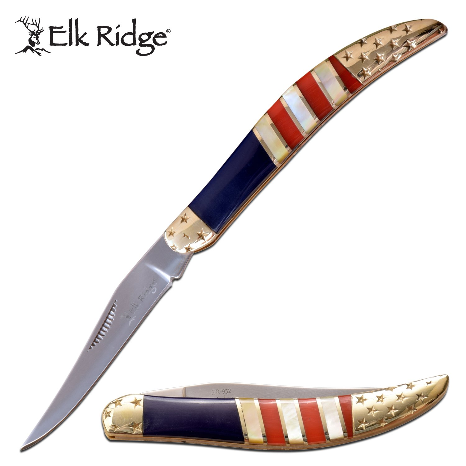 "Folding Knife Elk Ridge 2.25"" Mirror Blade Toothpick American Flag Stars Stripes"