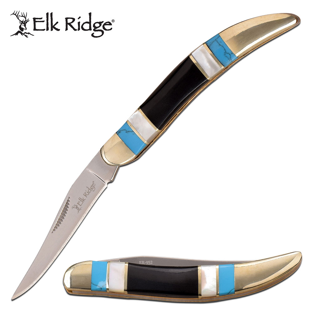 Folding Knife | Elk Ridge Classic Toothpick Blade Black, White Pearl, Turquoise