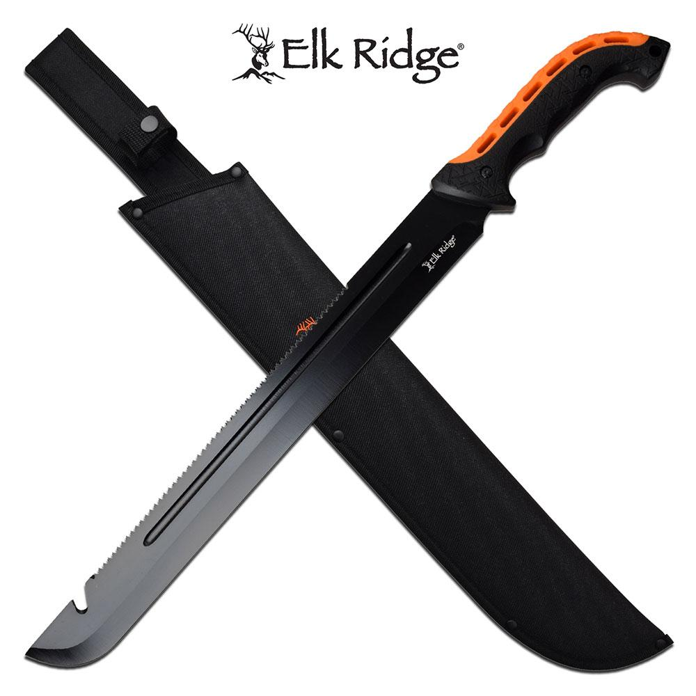 "Machete | Elk Ridge 16.5"" Gut Hook Blade Orange Rubber Handle Sawback + Sheath"