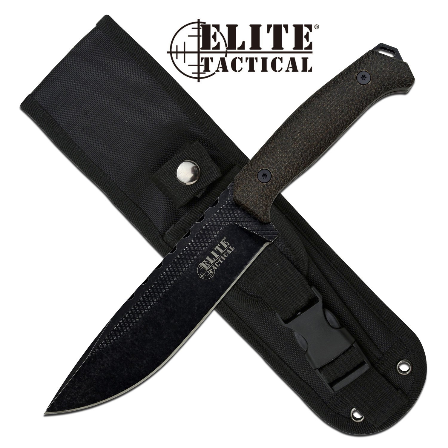 "Tactical Knife | Evolution 6.25"" Stone Blade Full Tang Combat Tactical + Sheath"