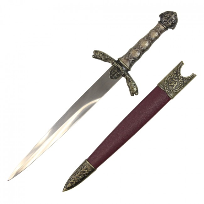 "Medieval Dagger | 15.5"" Overall English Knight Knife Costume Prop + Scabbard"
