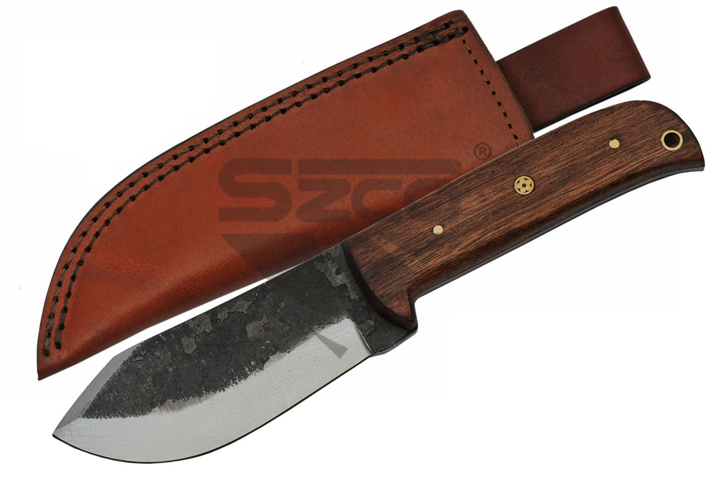 "Hunting Knife | Carbon Steel 9"" Overall Clip Point Fixed Blade Wood Hs-4424"