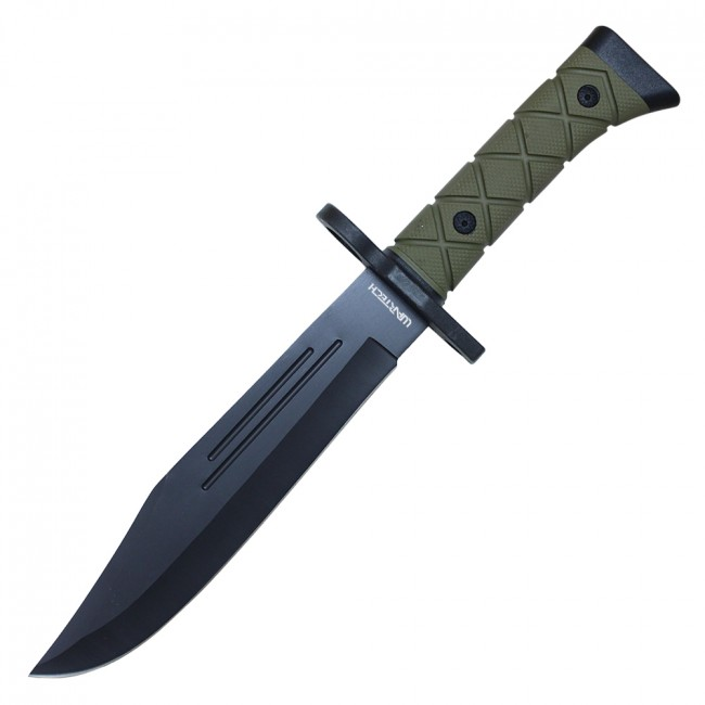 "Fixed Blade Knife | 14"" Military Hunting Bowie Tactical Green W/ Sheath Hwt101C"