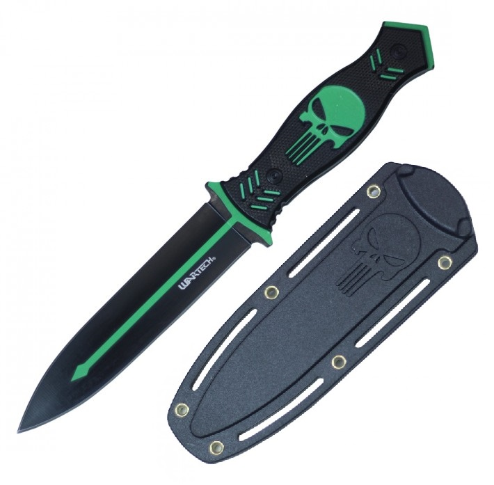 "Tactical Dagger | 10.25"" Overall Black Green Skull Combat Boot Knife + Sheath"