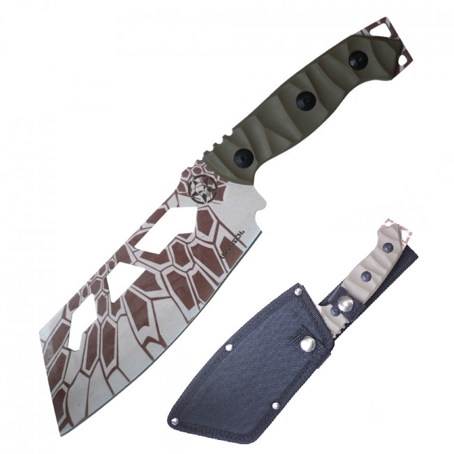 "Tactical Knife | Wartech 10.5"" Overall Full Tang Tan Military Combat Cleaver"