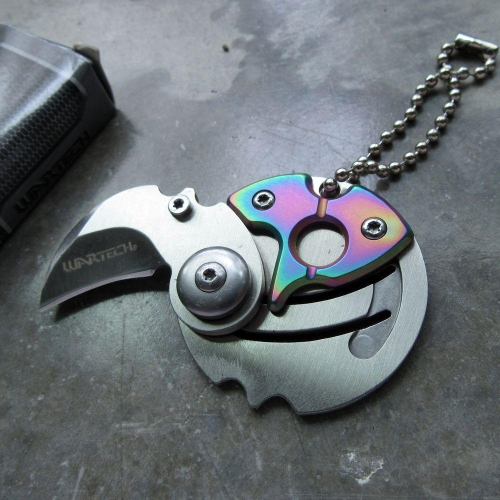 Mini Folding Keychain Knife | Silver Hawkbill 1