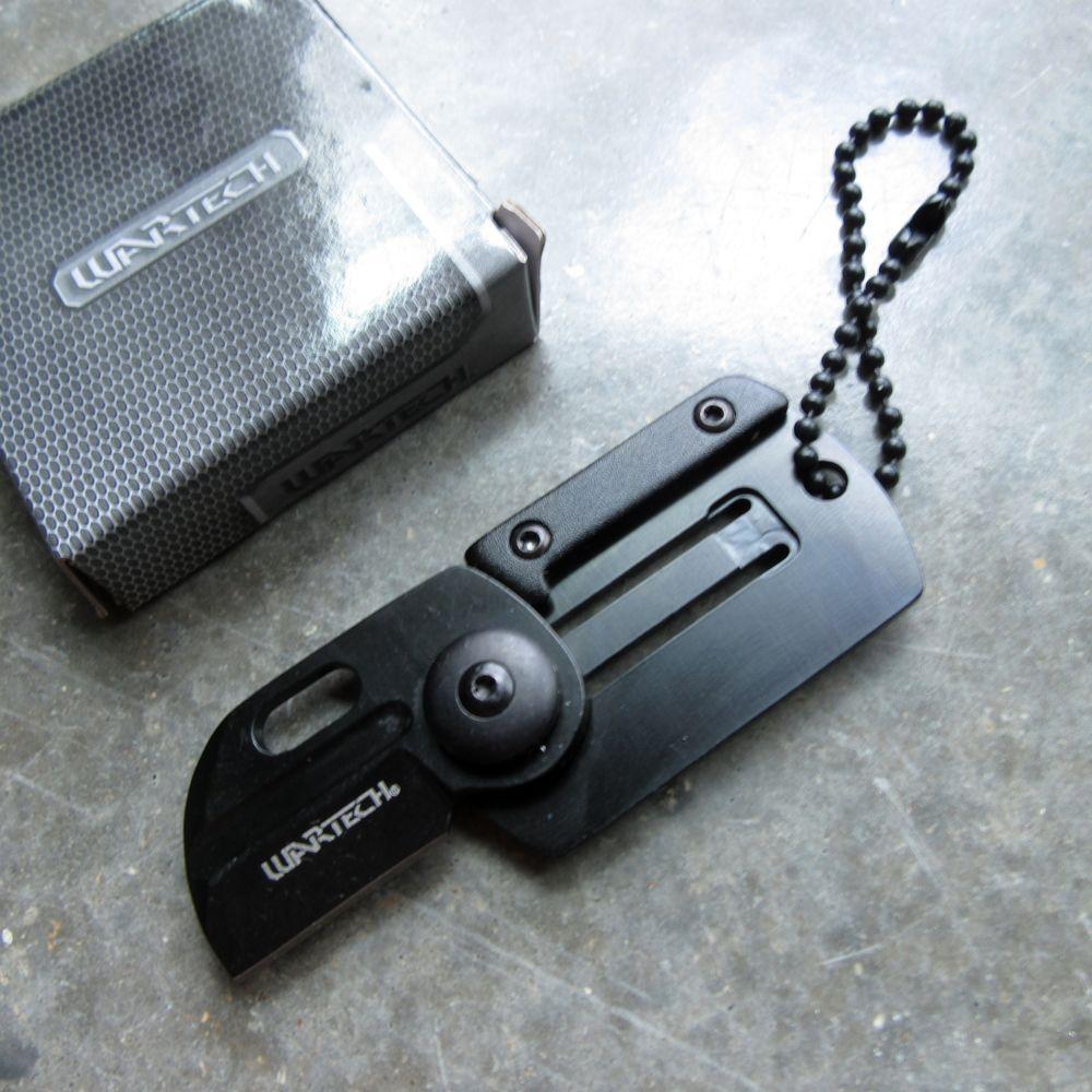 Mini Folding Keychain Knife | Military Dogtag Silver Sheepsfoot 1