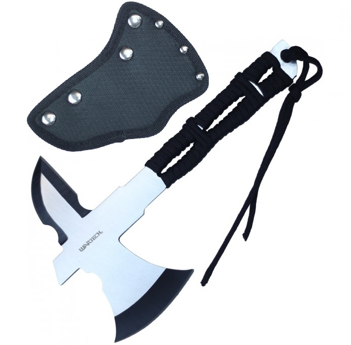 "Mini Throwing Axe | 8"" Overall Full Tang Silver Blade Cord-Wrap Handle Tomahawk"